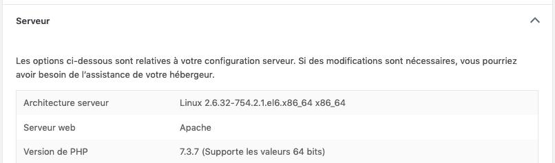 Capture d'écran montrant la version de PHP utilisé par un site web.